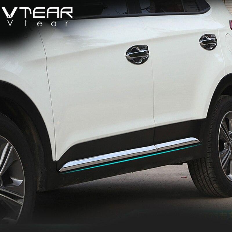 Vtear Pour Hyundai ix25 creta Voiture Porte Bande de décoration Du Corps Extérieur Garniture Couverture Chrome Styling creta produit accessoire 2015- 18