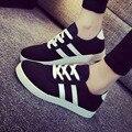 Manresar 2016 Новая Мода на шнуровке Женщин Zapatos Mujer Женщины Классический Холст Повседневная Обувь Черный и Белый Женские Туфли размер 35-40