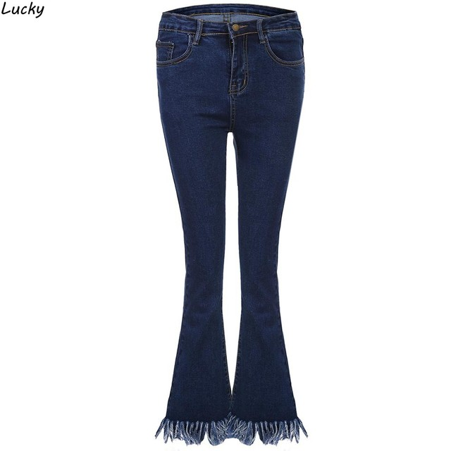Women Slim Jeans Pants Mid Waist Ankle Length Pants Autumn Winter Style Casual Pants Female Tassel Skinny Flare Jeans Trousers