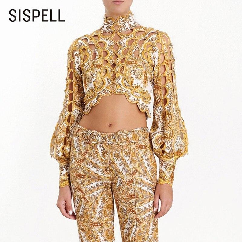 SISPELL courte longueur Sexy évider femmes Blouse lanterne manches col montant manches vêtements femme mode nouveau 2019 été