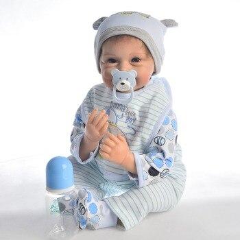 NPK DOLL Reborn Baby Doll 22inch soft silicone baby reborn doll   Lifelike Infant newborn babies boy dolls Toys Kid bebes Reborn