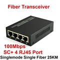 10/100M Fiber Optic Media Converter Singlemode Single Fiber with SC and 4 RJ45 Port up tp 25km