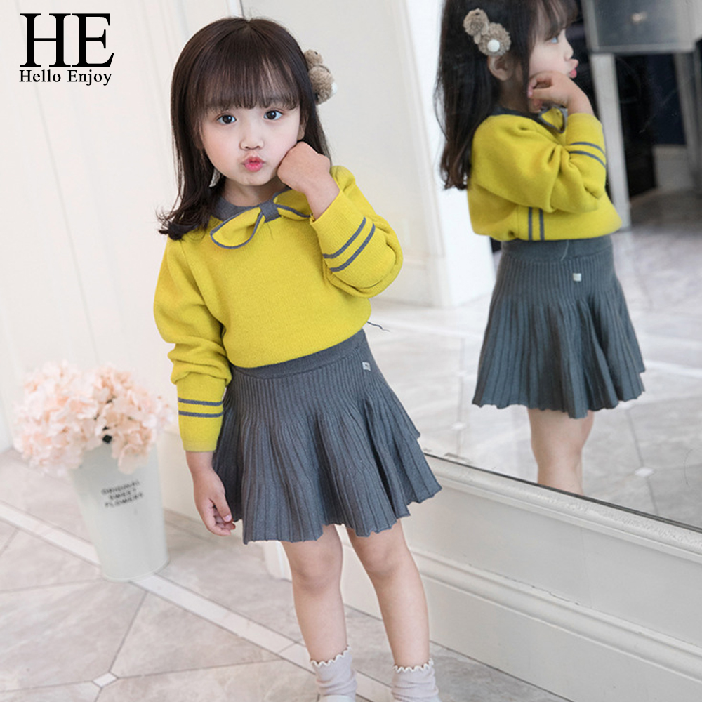 HE Hello Enjoy Toddler Girl Clothes Fashion Fall Boutique Kids Clothing Knit Pullover Sweater+Pleated Skirt Sets Winter Costume-in Clothing Sets from Mother & Kids