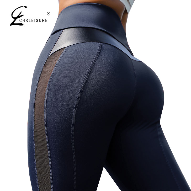 CHRLEISURE High Waist Fitness Leggings Women for Leggings Workout Women Mesh And PU Leather Patchwork Joggings S-XL 1