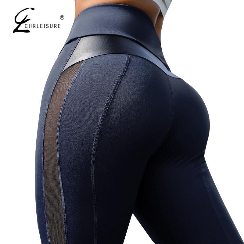 CHRLEISURE-mallas deportivas de cintura alta para mujer, Leggings de entrenamiento, de malla y cuero PU, Patchwork
