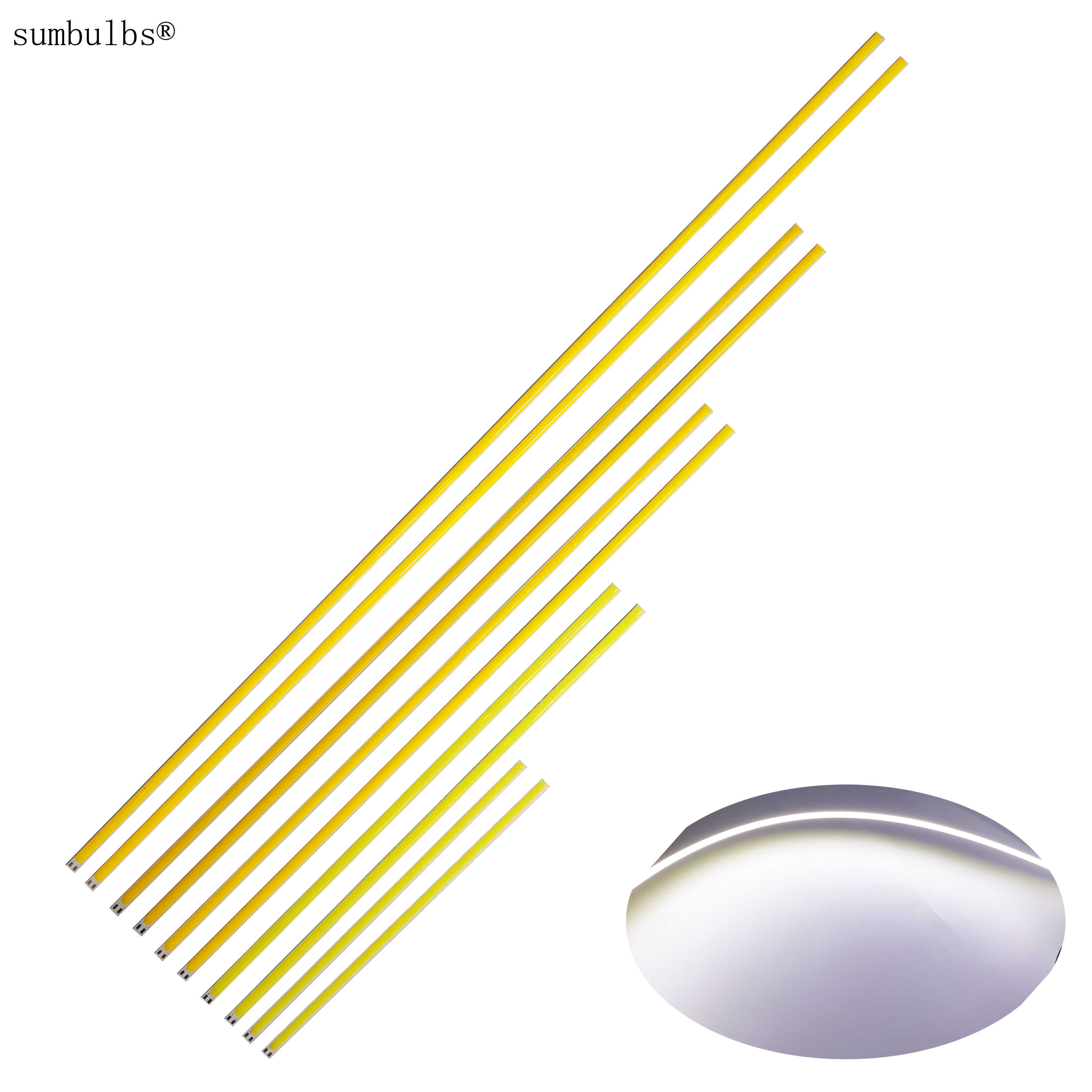 10pcs/lot 200mm 300mm 400mm 500mm 600mm 12V DC Flexible COB LED Strip Bar Lights 12V Ultra Bright Car Lamps DIY Outdoor LED Bulb