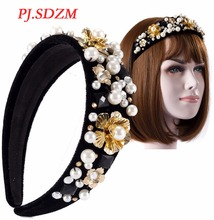 PJ.SDZM Headwear Handmade Vintage Baroque Imitated Pearl Hairbands Metal Flower Headband Woman Luxury Hair Accessory Gift