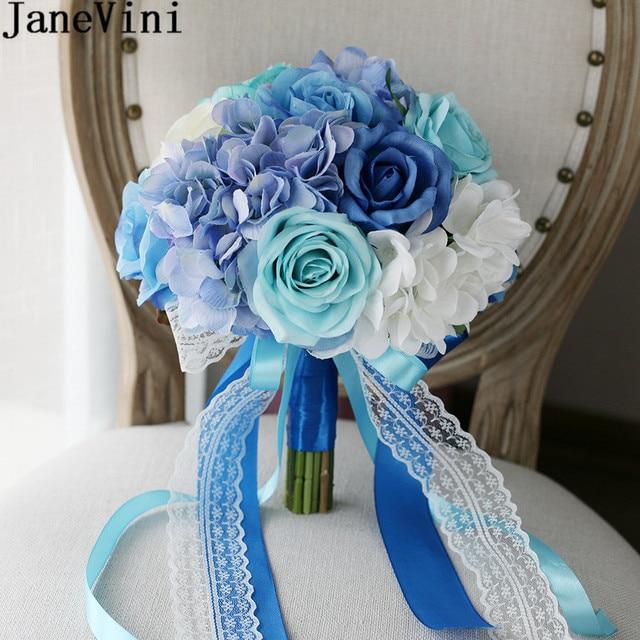 JaneVini Romantic Blue White Bridal Bouquet For Beach Wedding Flower ...