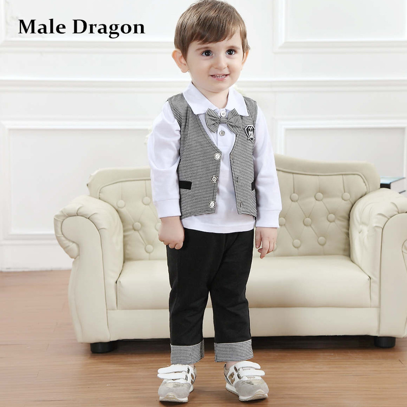 baby boy clothes gentleman 2017 children's formal long vest suit toddler boys clothing set autumn winter bow tie full plaid sets 2017 nice boy baby infant formal gentleman baby boy clothes button necktie suit romper 0 24m long sleeve baby clothing sets
