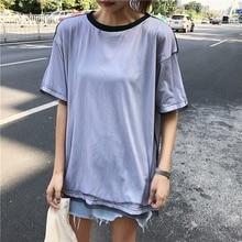 Womens T-shirt Cotton Short Sleeve T Shirt Harajuku Summer Casual Loose Mesh Stitching Round Neck Long Blusa