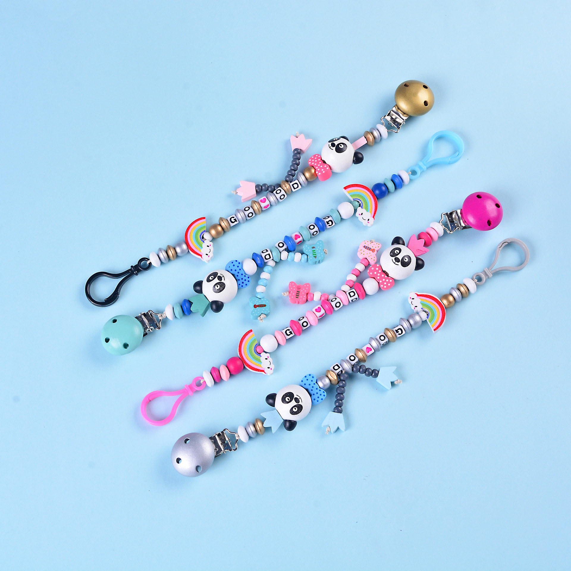Baby Handmade Wood Silicone Pacifier Chains Safety Beads Dummy Panda Chain Baby Eco-friendly Pacifier Clips Holder ChainBaby Handmade Wood Silicone Pacifier Chains Safety Beads Dummy Panda Chain Baby Eco-friendly Pacifier Clips Holder Chain