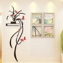 orchid 3D crystal Wall Sticker Acrylic TV backdrop Entrance decoration Living room window refrigerator home wall paper