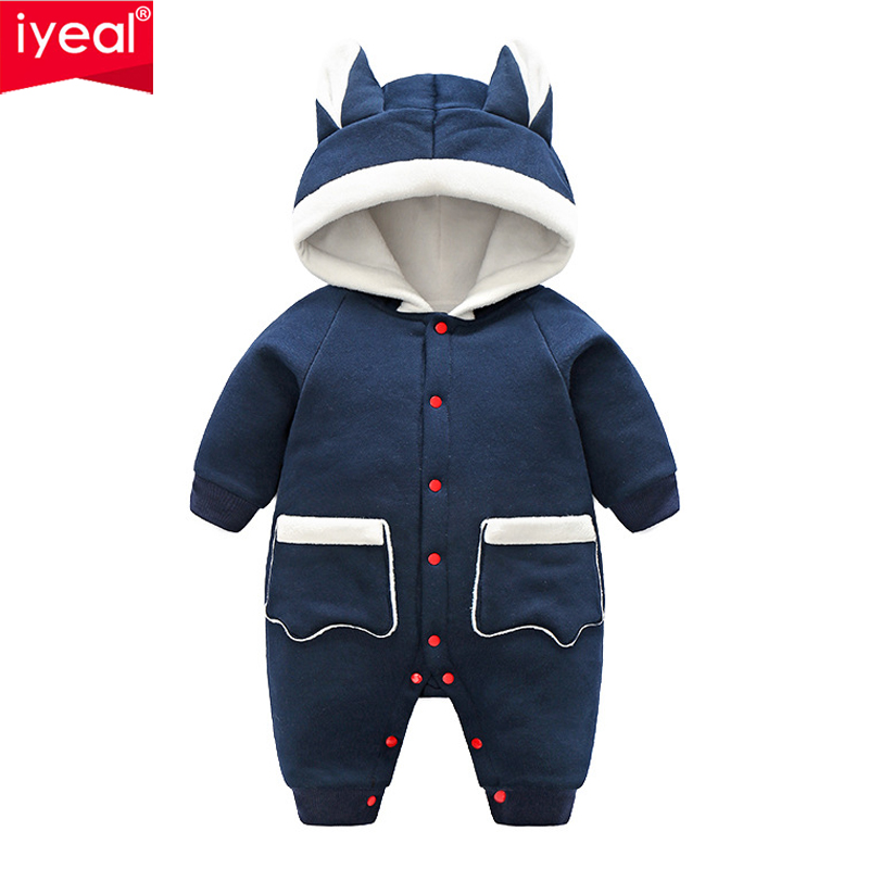 IYEAL Newborn Baby Rompers Cute Ears With Pocket Winter Warm Baby Boys Girls Clothing Long Sleeve Hooded Jumpsuit Kids Outwear cotton baby rompers set newborn clothes baby clothing boys girls cartoon jumpsuits long sleeve overalls coveralls autumn winter