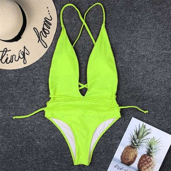 Halter Neon Deep V Swimsuit Women Monokini String Bathing suit Sexy Push Up Swimwear one piece Bodysuits High cut Bikini Women 1