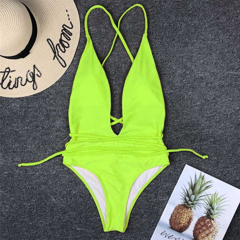 Halter Neon Deep V Swimsuit Women Monokini String Bathing Suit Sexy Push Up Swimwear One Piece Bodysuits High Cut Bikini Women