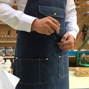Image 3 - Kadın erkek kolsuz önlük mutfak şefi önlük Denim önlük restoran pişirme önlük mutfak şef üniforma çalışma kıyafetleri