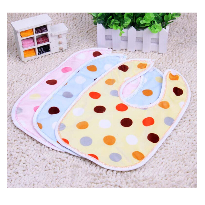 1 pcs/lot Baby Waterproof Lunch Towels Dot Print Cotton Bibs Velvet Salvia Burp Cloths Newborn Baby