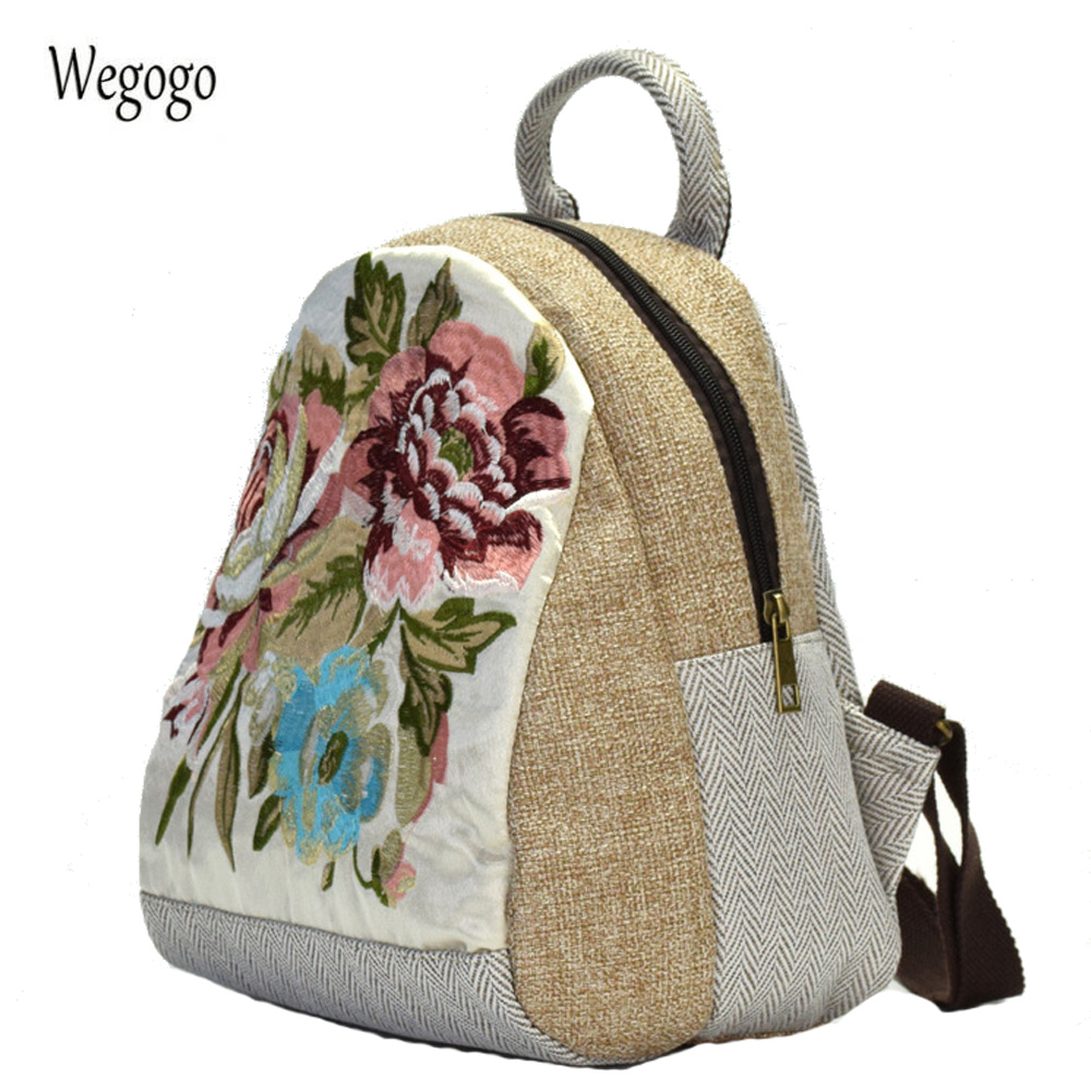 Original National Women Backpack Floral Embroidered Canvas Shoulder Bag Cute Small Travel Beach Schoolbag Rucksack Mochila