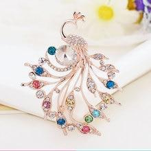 купить 1 Pcs Crystal Flower Peacock Brooch Pin Fashion Beautiful Rhinestone Jewelry Female Wedding Pins Large Brooches For Ladies по цене 161.7 рублей