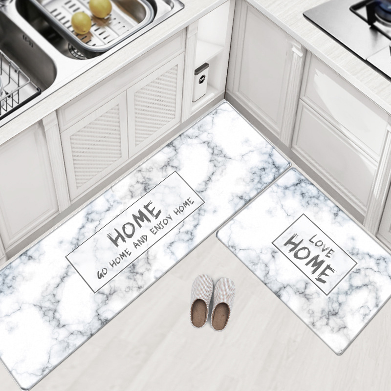 PVC Leather Kitchen Rugs Carpets Set Long Size Sofa Area Rugs Oil-proof Waterproof Living Room Bedside Floor Tatami Mat Tapetes