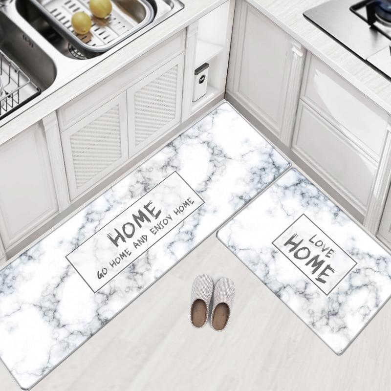 PVC Leather Kitchen Rugs Carpets Set Long Size Sofa Area Rugs Oil  proof Waterproof Living Room Bedside Floor Tatami Mat tapetesRug   -