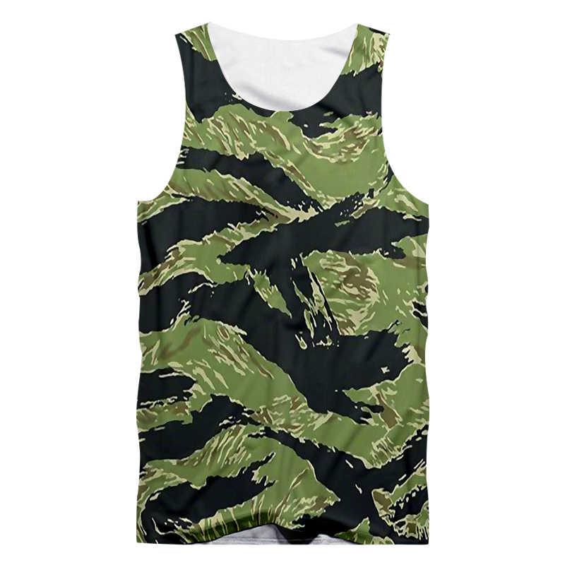 OGKB Man хип-хоп Уличная Панк футболка без рукавов летние топы Мужские крутые печати зеленый камуфляж 3d майка жилет большого размера