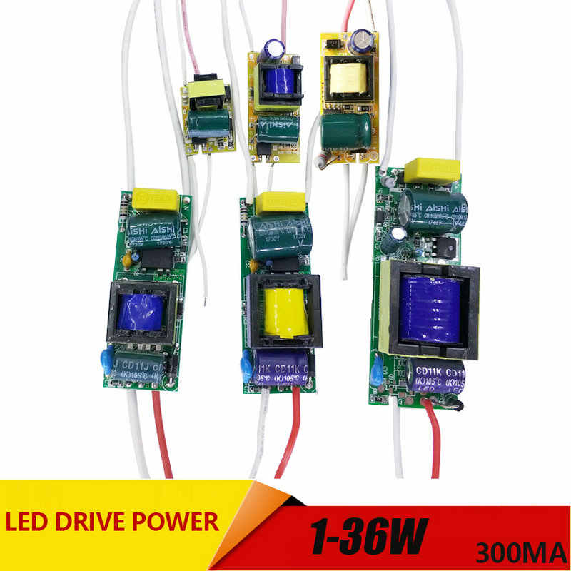 1-3 W, 4-7 W, 8-12 W, 15-18 W, 20-24 W, 25-36 W LED Driver Power Supply Built-In Konstan Saat Ini Lampu AC110-265V Output 300mA DC