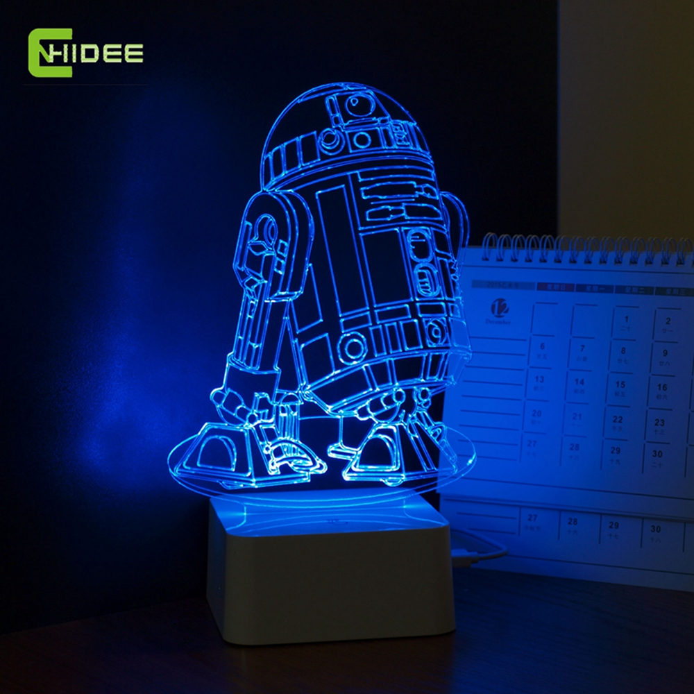 Star Wars Lampe 3d Visuelle Led Nachtlichter Fur Kids Robot R2 D2