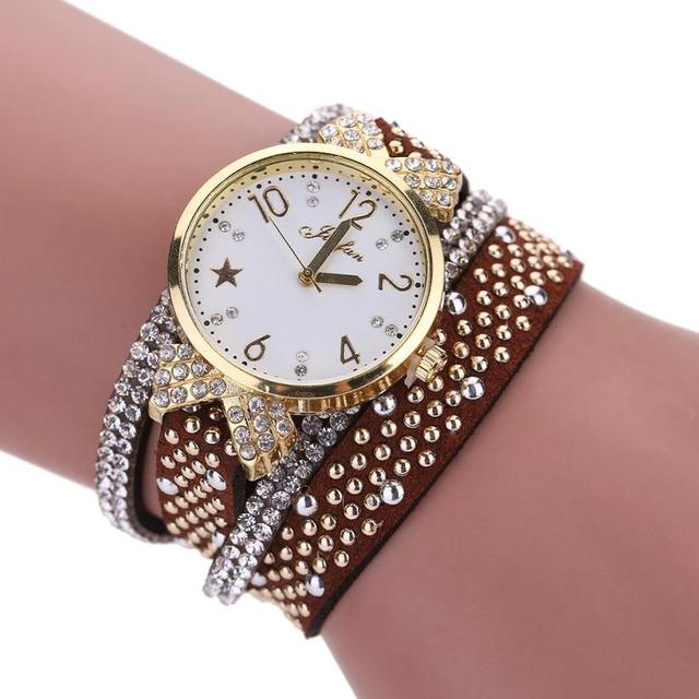 #5001 Leisure Fashion Woman Bracelet Watch Leisure Womens Quartz Watch Crystal D