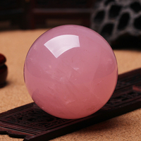 80mm pink crystal ball natural specimen rose quartz ball natural crystal ball healing stone Chakra energy ball Christmas gifts