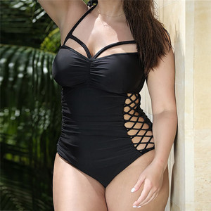 Женский комплект бикини большого размера купальник пуш-ап с подкладкой, однотонный бюстгальтер с вырезами, купальник, пляжная одежда Z0323