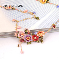 Juicy Grape Enamel Glaze Peony Flower Long Necklace Tassel Sweater Chain Pendant Necklace Hand Painted Enamel Jewelry