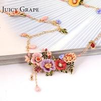 Juicy Grape Enamel Glaze Peony Flower Long Necklace Tassel Sweater Chain Pendant Necklace Hand Painted Enamel Jewelry