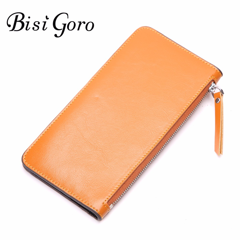 Bisi Goro fashion women wallet long solid simple cowhide leather women purse brand female wallet clutch lady evening bag clutch