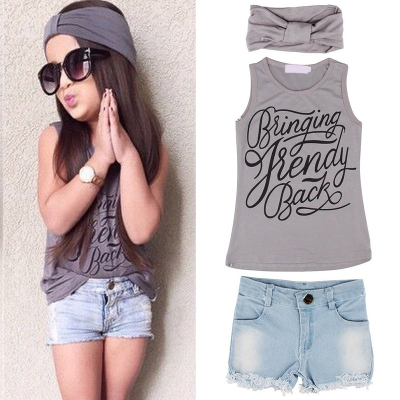 Summer 3pcs Lovely Kids Baby Girl Casual Outfits Headband+Top T-shirt+Jeans Pants Clothes Set 2-6Y Shipping From US