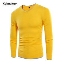 KOLMAKOV 2017 new arrivals fashion V-Neck Solid color simple men's sweater, casual  warm sweater men,full size M-3XL.