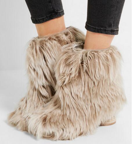 Newest!! Beige Fur Women Ankle Boots Autumn Winter Slip-On Round Toe Short Boots Faux Fur Ladies Shoes Wholesale Women Boots