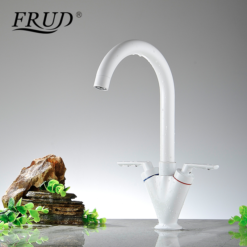 Frud Kitchen Sink Faucet White Thermostatic Porcelain Single Holder Hot and Cold water Brass Pull out Ceramic Plate Spool Y40032
