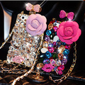 Perfume case para iphone 6 cristal do diamante de bling capa case para iphone 6 s Plus 5se 4S 5c Rose Bowknot Cadeia Capa de Jóia do Escudo