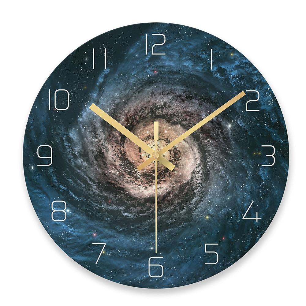 Starry Sky Wall Clock Universe Galaxy Silent Movement Wall Clock Children Room Museum Decorative Clock Quartz Hanging Clock