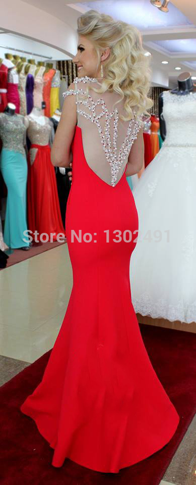 2014 Elegant Sheer Tulle Beaded red prom dresses gala sweet 16 ...