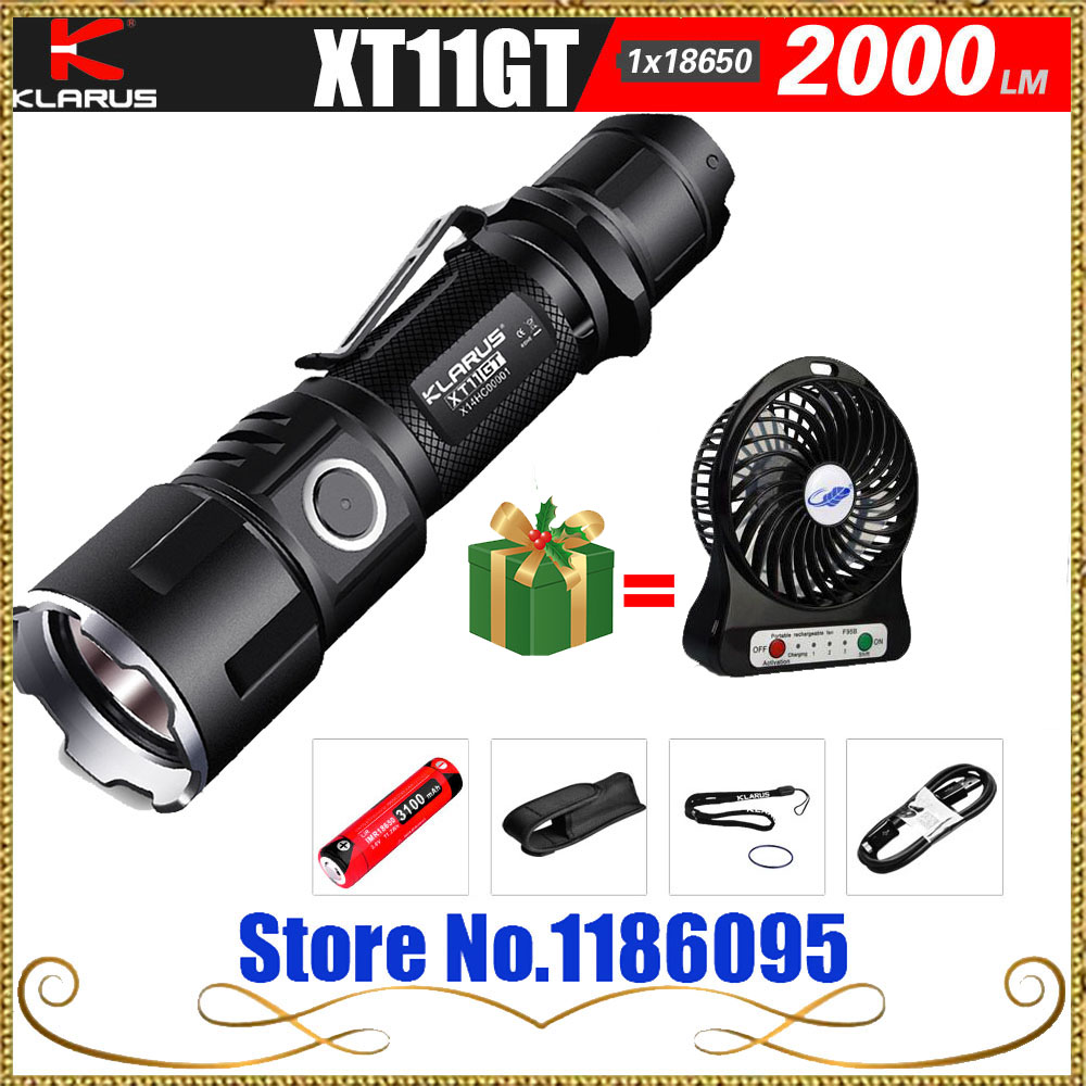 KLARUS XT11GT Newest CREE XHP35 HD E4 LED 2000 Lumen Tactical Flashlight USB charging by 3100 mAh 18650 Li-ion batteries do less get more