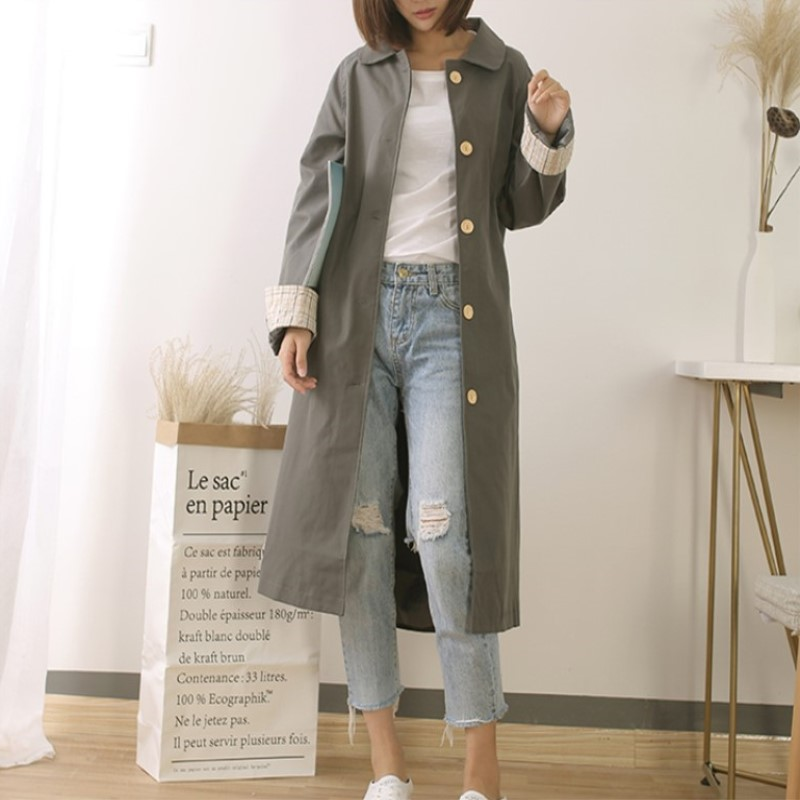 2019 Fashion Woman Casual   Trenches   Long Turn down Collar Single Breasted Patchwork   Trench   Coats Over Knee