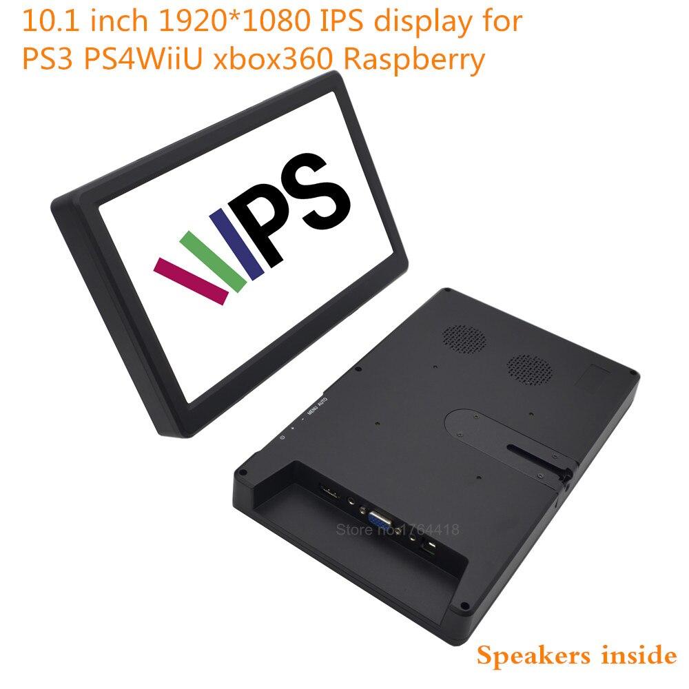 10.1 pouce 1920*1080 1080 p moniteur d'écran 16:9 IPS HDMI/VGA pour Raspberry pi XBOX PS3 PS4 WiiU jeu machine avec haut-parleur
