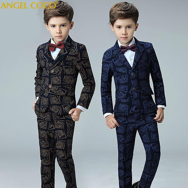 Costumes et Blazers pour garçons vêtements pour enfants costume pour garçon + pantalon + gilet + chemise + noeud papillon 5 pièces ensembles 100-170 Cm à boutonnage unique britannique