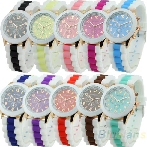 10 Colors Women Geneva Silicone Band Jelly Gel Quartz Analog Sports Wrist Watch Wristwatch 0JV6