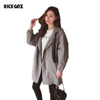 0KXGNZ Women Coat 2017 Korean New Spring fashion Loose Hooded Women Coat Medium Long temperament Pure Color Overcoat Women HY25
