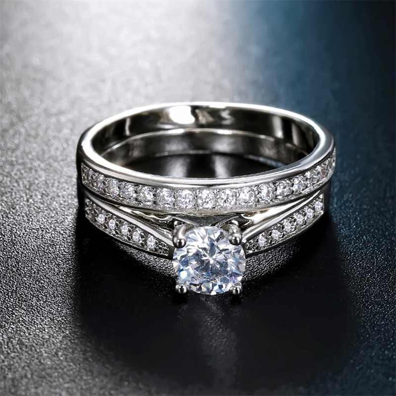 2 Pieces Ring / Inlay Silver Plated White Crystal Zircon Wedding Engagement Ring Size 6-9