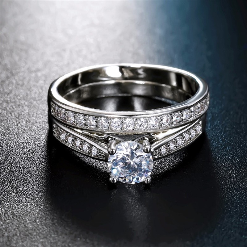 Zircon Ring-Size Crystal Engagement Wedding Silver-Plated White 2pieces-Ring/inlay 6-9 title=