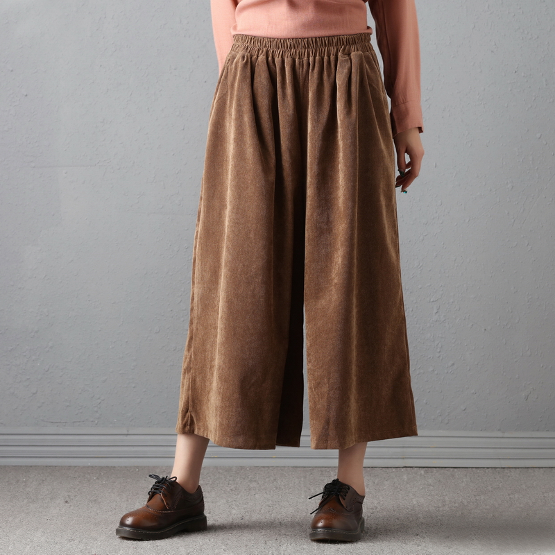 Original Design Female Loose Trousers Women High Waist Retro Loose Cotton Corduroy   Pants   Female   Wide     Leg     Pants